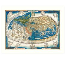 4th edition of Ptolemy's Cosmographia  by Leinhart Holle, dated 1482 Art Print