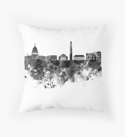 Washington DC skyline in black watercolor on white background  Throw Pillow