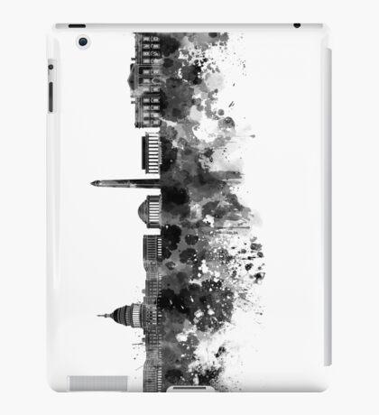 Washington DC skyline in black watercolor on white background  iPad Case/Skin
