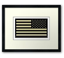 AMERICAN ARMY, Soldier, American Military, Arm Flag, US Military, IR, Infrared, Reflective, USA, Flag, on BLACK Framed Print