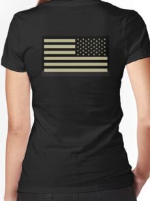 AMERICAN ARMY, Soldier, American Military, Arm Flag, US Military, IR, Infrared, USA, Flag, Reverse side flag, on BLACK Women's Fitted V-Neck T-Shirt
