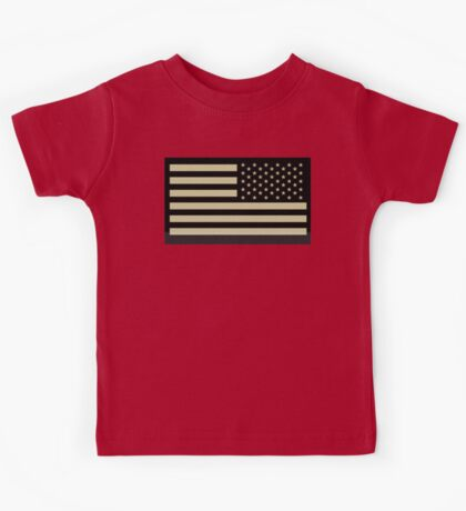 AMERICAN ARMY, Soldier, American Military, Arm Flag, US Military, IR, Infrared, USA, Flag, Reverse side flag, on BLACK Kids Tee