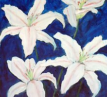 Liliums on blue by Terry Townsend