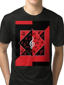 Stylish Art Deco Music Notes Red Black White Tri-blend T-Shirt