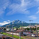 Pilatus Mountian seen from downtown Luzern by doug hunwick