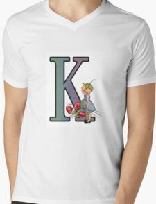 Initial K, Alphabet Letter, Girl with Poppies, Color Pencil Art Mens V-Neck T-Shirt