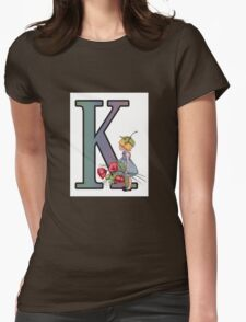 Initial K, Alphabet Letter, Girl with Poppies, Color Pencil Art Womens Fitted T-Shirt