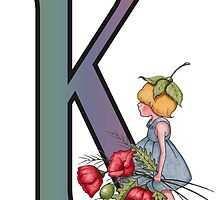 Initial K, Alphabet Letter, Girl with Poppies, Color Pencil Art by Joyce Geleynse