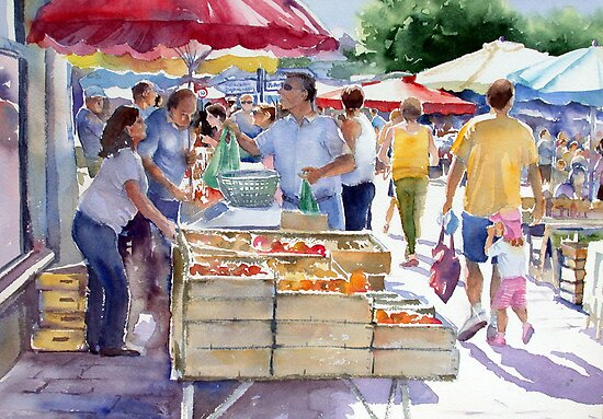 Market at Le Bugue by Ann Mortimer