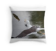 Lesser black-backed gull catches trout Throw Pillow