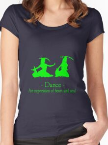 Green and black long sleeve belly dance bellydance geek funny nerd Women's Fitted Scoop T-Shirt