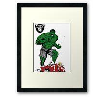 Incredible Hulk and the Oakland Raiders Framed Print