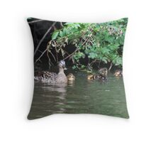Gentle Mum: Female Mallard Duck with Ducklings Throw Pillow