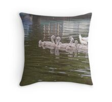 Papa Looks on: Mute Swan Family on Canal Throw Pillow