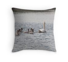 An Evening Sail: Mute Swan Family on Bingley Canal Throw Pillow