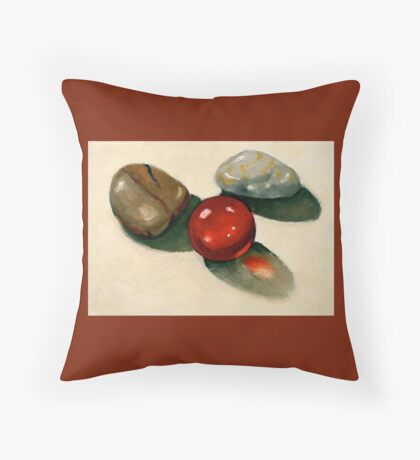 Red Marble with Stones: Still Life Painting Throw Pillow