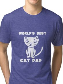 Worlds best cat dad funny geek funny nerd Tri-blend T-Shirt