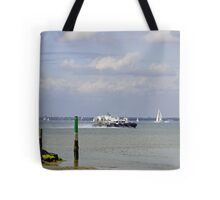 Hovercraft Passing Ryde Harbour Mouth Tote Bag
