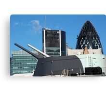 The guns of HMS Belfast with the City of London skyline behind Canvas Print