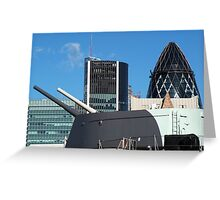 The guns of HMS Belfast with the City of London skyline behind Greeting Card