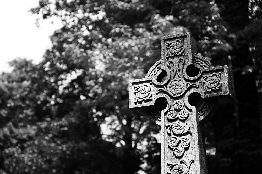 Celtic Cross in Black and White by Mark Theriault
