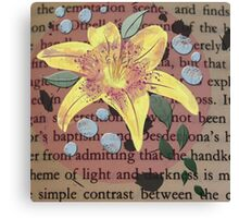 Yellow Lily and Blue Pearls on Vintage Paper Canvas Print