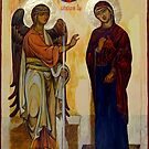 Annunciation of Ustyug. Greek style orthodox icon copy (XIIc). by Natalia Lvova