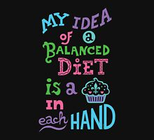 My idea of a balanced diet is a cupcake in each hand-light Womens Fitted T-Shirt