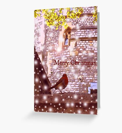 Merry Christmas: Robin in Snow at Windsor 2014 Greeting Card