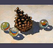 Pine Cone and Marbles: Still Life Painting by Joyce Geleynse