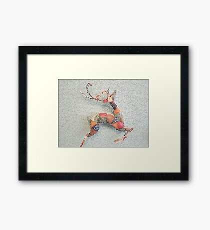 Patchwork Reindeer in the Snow Framed Print