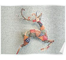 Patchwork Reindeer in the Snow Poster