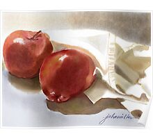 Red Apples and White Cloth  Poster