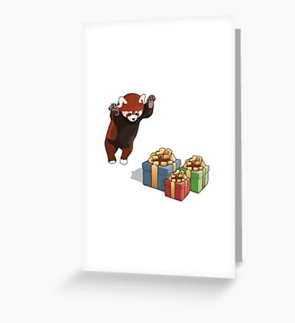 Red Panda Gets Presents Greeting Card