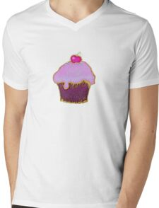 Yummy pink cupcake picture Mens V-Neck T-Shirt