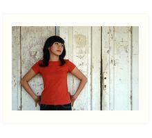 young girl wearing casual red shirt Art Print