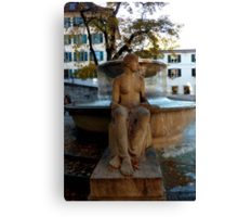 LADY BY FOUNTAIN Canvas Print
