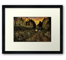 A Walk Along the River at Sunset Framed Print
