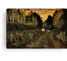 A Walk Along the River at Sunset Canvas Print
