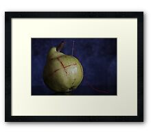 Dressed Fruit:   Pear and stitches  Framed Print