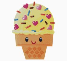 Yellow Ice Cream with Heart Sprinkles Kids Clothes