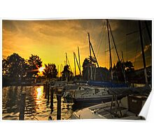 Golden Sunset on Attersee Poster