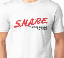 SNARE To Keep Bands On Beat - Black Type Unisex T-Shirt