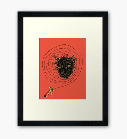 Theseus, the Minotaur, and the Thread Maze Framed Print