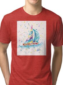Sailboat by Jan Marvin Tri-blend T-Shirt