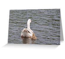 Mum and I: White Gosling and female goose Greeting Card