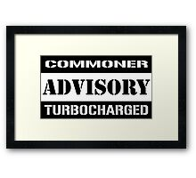 Commoner advisory-Turbocharger Framed Print