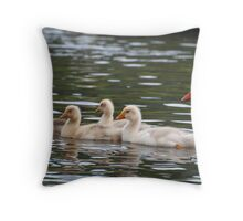 Greenhill Goslings: White geese on Bingley Canal Throw Pillow