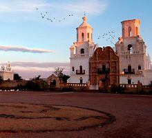 Birds at the Mission at Sunrise by rwilks