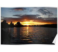 Water Ripples at Sunset Poster
